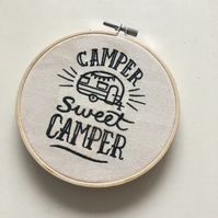 Sweet Camper Embroidery Hoop Art Caravan Lover Camping Decor Wall Decorations