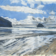 Trebarwith Strand in Cornwall plein air acrylic painting