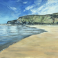 Watergate Bay plein air sketch looking north