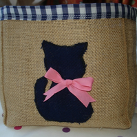 Hessian Burlap Storage container with Appliqued Cat