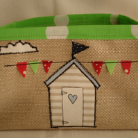 Handmade Fabric Storage Box Basket Bin with Applique beach hut