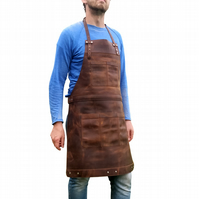 Full Grain Professional Leather Utility Apron Chef Butcher Workshop Artisan