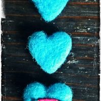 Blue Heart Wool Brooches