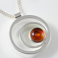 Natural Amber gemstone  open circular pendant