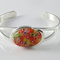 Multi coloured Millefiori glass adjustable bangle