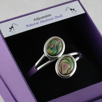 Natural abalone shell adjustable bangle