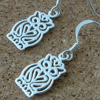 Wise owl sterling silver drop earrings