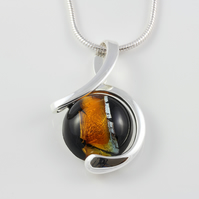 Jet & Amber Czech glass twist pendant