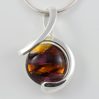 Amethyst & Amber Czech glass twist pendant