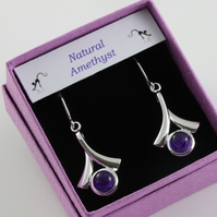 February birthstone Amethyst wishbone earrings