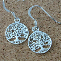 "Sterling silver ""Tree of life"" drop earrings"