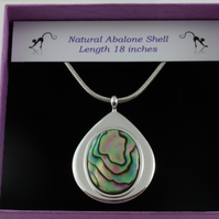 Natural abalone shell teardrop pendant
