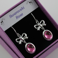 Rose pink Swarovski crystal birthstone cabochon dangle earrings