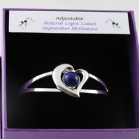 Lapis lazuli September birthstone heart bangle