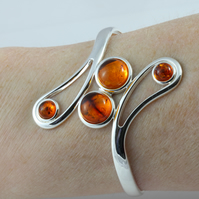Adjustable amber gemstone cabochon cuff bangle