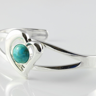 Natural Turquoise December birthstone adjustable heart bangle