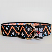 Black and Orange Pattern Over The Head Stretch Soft Elastic Dog I.D. Collar