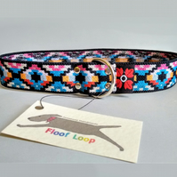 Blue Aztec Pattern Over The Head Stretch Soft Elastic Dog I.D. Collar