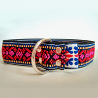 Red-Pink Ethnic Pattern Over The Head Stretch Soft Elastic Dog I.D. Collar