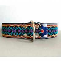 Blue-Purple Ethnic Pattern Over The Head Stretch Soft Elastic Dog I.D. Collar