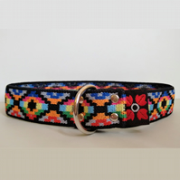 Orange Aztec Ethnic Pattern Over The Head Stretch Soft Elastic Dog I.D. Collar