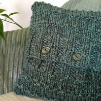 Super chunky hand-knitted cushion cover
