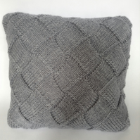 Hand-knitted blue-grey cushion cover