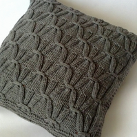 Stylish grey hand-knitted cushion cover