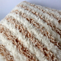 Hand-knitted fluffy cushion cover