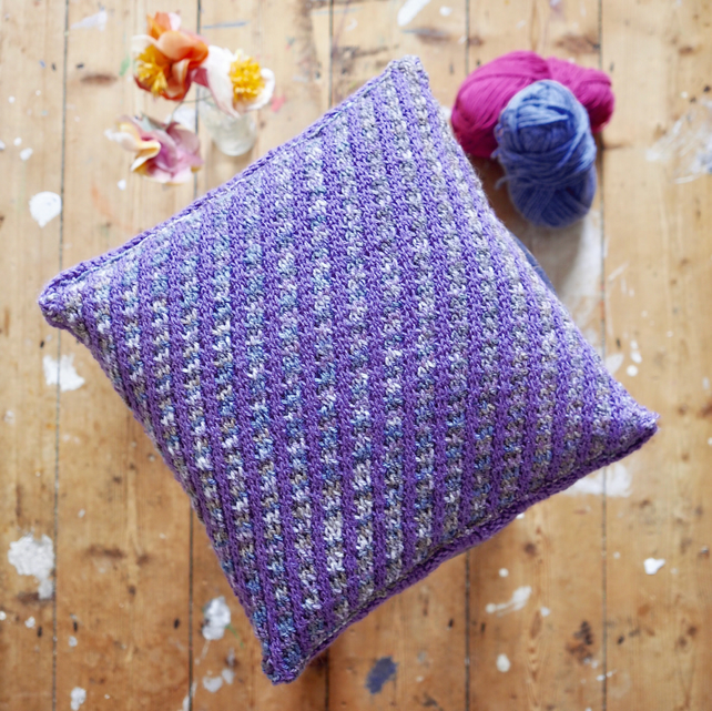 Chunky hand knit cushion - purple and grey stripes