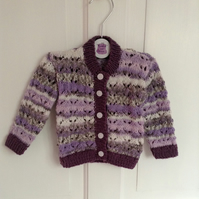 Hand-knitted newborn baby cardigan in lilac