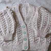 Cardigan in flecked double knit yarn size 24 inches