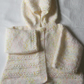 "Hooded jacket in cream fleck yarn to fit 22"" chest"