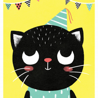 PARTY CAT - A3 Giclée Print - signed, limited edition