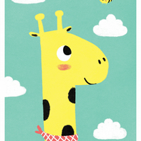 THE GIRAFFE AND THE BEE - A3 Giclée Print - signed, limited edition