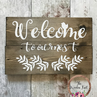 Rustic Wooden Plaque Welcome Sign