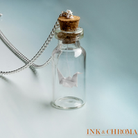 Good Luck Origmai Crane in Bottle Necklace, Origami Jewelry, Miniature Jewellery