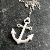 3D Printed Anchor Necklace, White Pendant Anchor Jewellery, Nautical Theme Gift