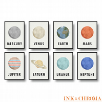 Planets of the Solar System Prints, Set of 8, Space Illustration Set