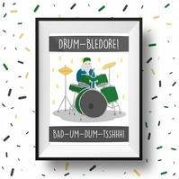 Drumbledore Dumbledore Drumming Pun Illustration Print (Magic Harry Potter) A3