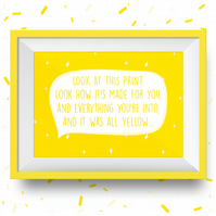 Coldplay All Yellow Illustration Print (Chris Martin Music Band Yellow Stars) A3