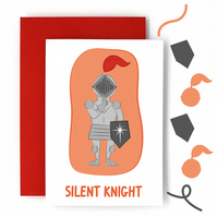 Silent Night Christmas Card - Silent Knight Pun Card - Funny Christmas Card