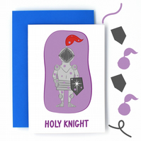 Holy Night Christmas Card - Holy Knight Pun Card - Funny Christmas Card - Cute