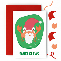 Santa Claus Christmas Card – Santa Claws Pun Card - Funny Christmas Card - Cute