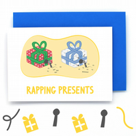 Wrapping Presents Christmas Card – Rapper Pun Card - Funny Christmas Card - Cute