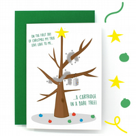 12 Days of Christmas Card - Partridge In A Pear Tree - Cartridge In Bare Tree