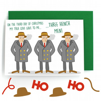 12 Days of Christmas Card – Three French Hens – Three Hench Men - Funny