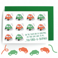 12 Days of Christmas Card – Ten Lords a Leaping – Ten Fords a Beeping - Funny
