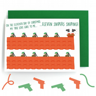 12 Days of Christmas Card – Eleven Pipers Piping – Eleven Snipers Sniping