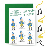 12 Days of Christmas Card – Six Geese a Laying – Six Police a Playing - Funny